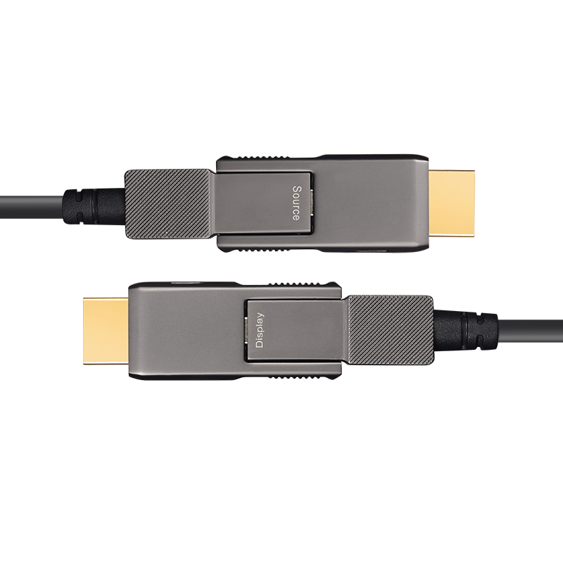 Detachable Armored HDMI 2.0 AOC, Type D-D, Hybrid 18Gbps 4K60 HDMI 2.0 Active Optical Cable